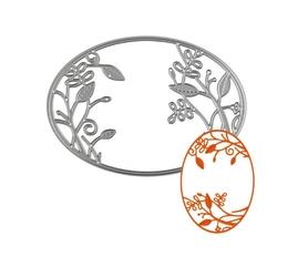 Wykrojnik Ramka owalna z kwiatkami