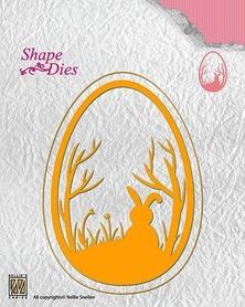Wykrojnik Ramka owalna Wielkanoc Zając 2 el