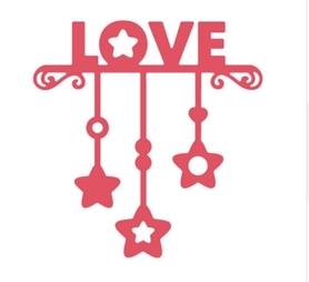 Wykrojnik Love + gwiazdki (W569)