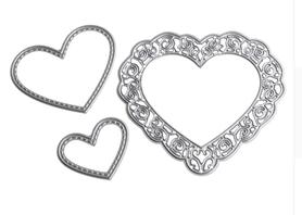 Wykrojnik Serce ażurowe + serca z przeszyciami
