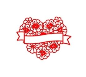Wykrojnik Serce z kwiatami i banerem (6840)