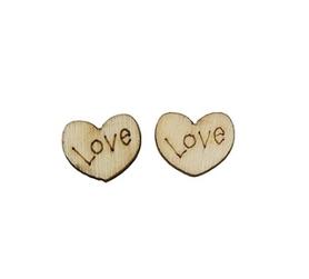 Drewniane serduszka z napisem Love - 20 szt.