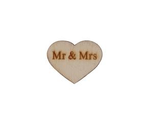 Drewniane serduszka z napisem Mr&Mrs - 10 szt.