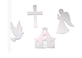(TEK3) Zestaw Krzyż Kościół Anioł Gołąb - 4 el.