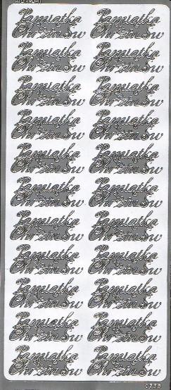 Naklejki napis Pamiątka Chrztu Św - srebrny 22 szt