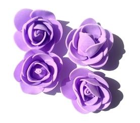 Kwiaty Róże piankowe 3 cm - fioletowe 10 szt.