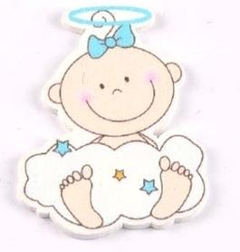 Ozdoba drewniana Aniołek Dziecko niebieski