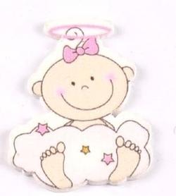 Ozdoba drewniana Aniołek Dziecko różowy