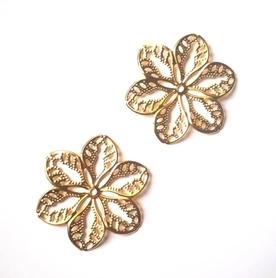 Kwiatek metalowy złoty 2 szt.