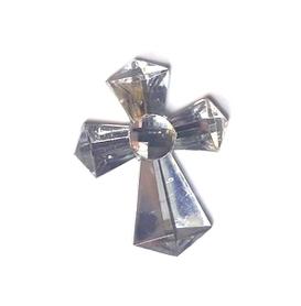 (OR2) Krzyż akrylowy 1,4x1,8 cm srebrny 10 szt.