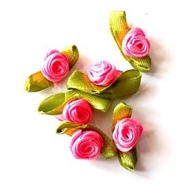 Kokardki z różyczką 10 szt. - różowa
