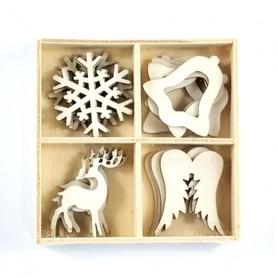 Zestaw ozdób z drewna Śnieżynka Renifer 16 el.