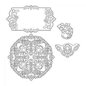 Wykrojnik Sizzix Thinlits 4 el. Ornate Flowers Tag