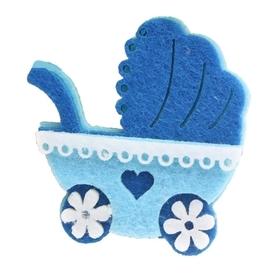 Wózek z filcu - niebieski