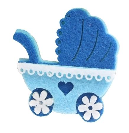 c0c9eadf2a711 Wózek z filcu - niebieski