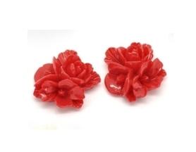 Kwiatki z żywicy - 16mm - 4 szt. - czerwone