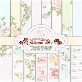 Zestaw papierów   Różane Listy - 15x15cm