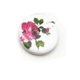 Guzik drewniany okrągły z różą - 2 szt.