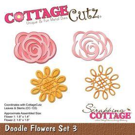Wykrojnik Cottage Cutz Doodle Flowers Set 3 Kwiaty