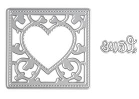 Wykrojnik Scrapbooking Ramka z sercem i napisem