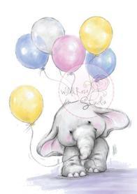 Zestaw stempli A7 Bella with balloons