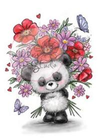 Zestaw stempli A7 Panda with flowers