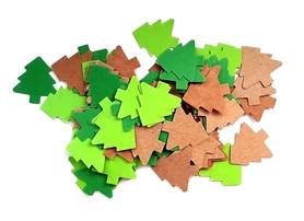 (D3) Choinki 2,5cm 100 szt mix zielony/brązowy