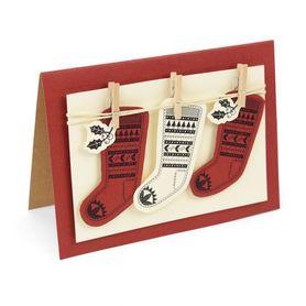 Wykrojnik + stemple Sizzix Fairisle Stocking