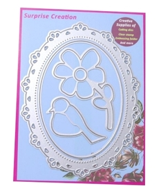 Wykrojnik SC Ramka owalna + kwiatek + ptaszek 4 el