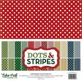 Zestaw papierów Christmas Dots & Stripes 30x30