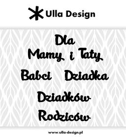 Wykrojnik ULLA DESIGN Napisy dla rodziny (1118-6)