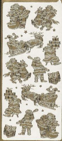 Naklejka ozdobna 1754 Mikołaj Święta złota