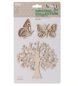 Zestaw ozdób z drewna Motyle i drzewo