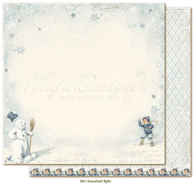 Arkusz 30x30 cm 	Joyous Winterdays -Snowball fight