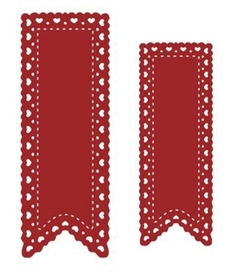 Wykrojnik AC Dwa banery z serduszkami (91218-7)