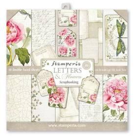 Zestaw papierów 30x30 - Stamperia - Letters & Flowers