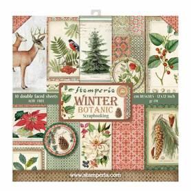 Zestaw papierów 30x30 - Stamperia - Winter Botanic