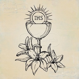 Stempel gumowy Kielich z hostią i liliami