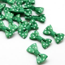 Kokardki satynowe zielone w grochy 10 szt.