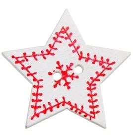 Guzik drewniany Gwiazdka świąteczna biała