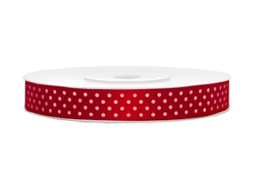Tasiemka satynowa czerwona w białe kropki 12mm 25m