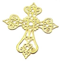 Krzyż metalowy złoty 58x63mm