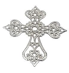 Krzyż metalowy srebrny 58x63mm