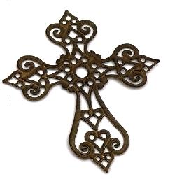 Krzyż metalowy brązowy 58x63mm