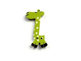(OD4) Żyrafa Żyrafka drewniana guzik - jasny zielony