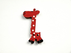 (OD6) Żyrafa Żyrafka drewniana guzik - czerwona