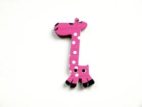 (OD7) Żyrafa Żyrafka drewniana guzik - różowa