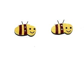 (OD8) Pszczoła Pszczółka drewniana guzik - 2 szt.