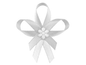 Kokardki z satynowym kwiatkiem, białe 6cm 25szt