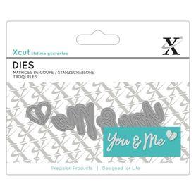 Wykrojnik XCut You & Me (504055) - napis+serce